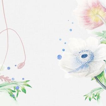 Fond de mariage de fleurs, vecteur de conception de bordure esthétique, remixé à partir d'images vintage du domaine public