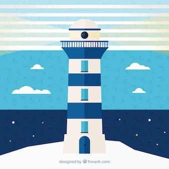 Fond marin bleu et blanc avec le phare