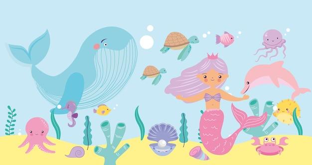 Fond marin avec dessin animé sirène et animaux marins
