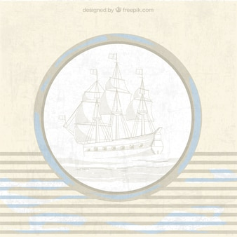 Fond marin vintage avec navire et bleu détails