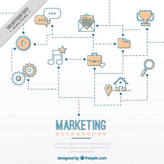 Fond de marketing avec des icônes et des lignes