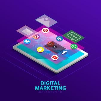 Fond de marketing numérique dans un style isométrique