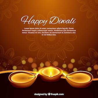 Fond marron avec des bougies de diwali