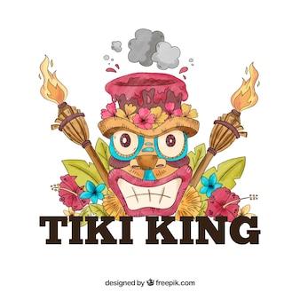 Fond de masque de roi tiki dessiné à la main