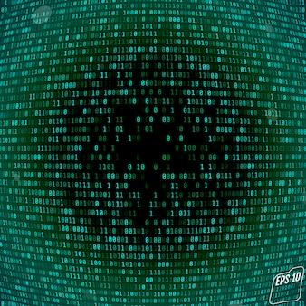 Fond de matrice avec les symboles verts