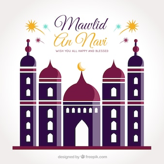 Fond mawlid avec mosquée design plat
