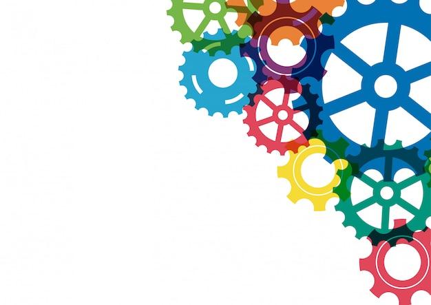 Fond de mécanisme abstrait créatif coloré pignon