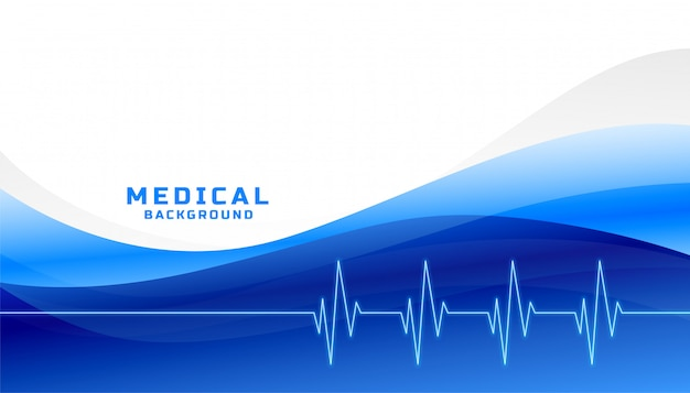 Fond médial et de soins de santé élégant avec une forme ondulée bleue