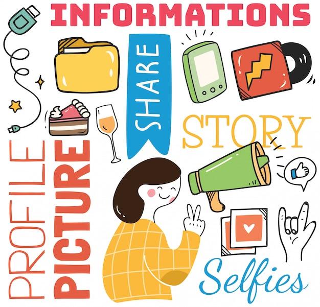 Fond de médias sociaux dans l'illustration de style doodle