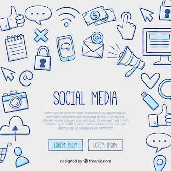 Fond de médias sociaux dans un style dessiné à la main