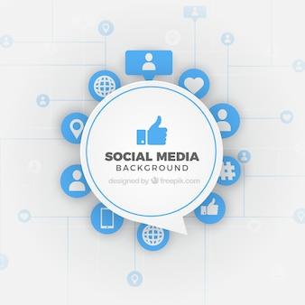 Fond de médias sociaux dans un style plat