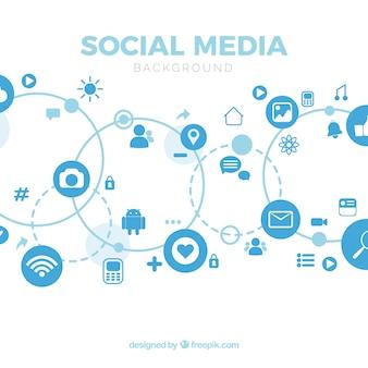 Fond de médias sociaux avec un design plat
