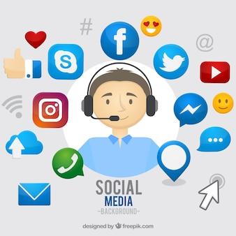 Fond de médias sociaux dessinés à la main