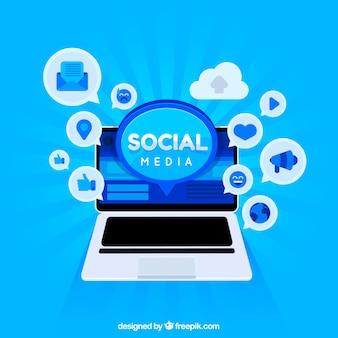 Fond de médias sociaux plat avec ordinateur