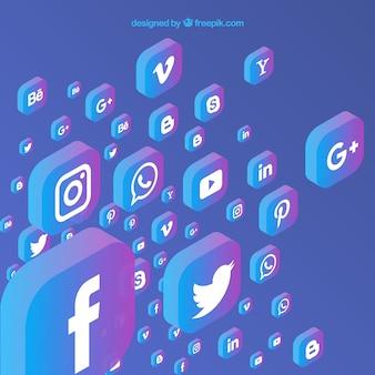 Fond de médias sociaux plat avec une variété d'icônes