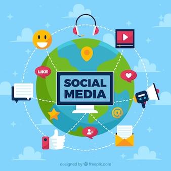 Fond de médias sociaux plat avec world grlobe