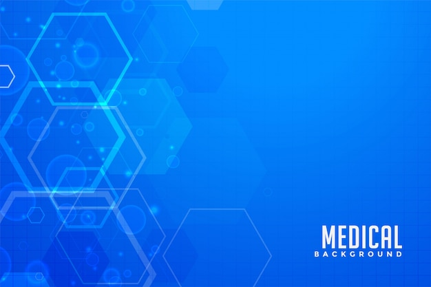Fond médical bleu avec des formes hexagonales