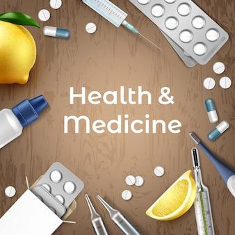 Fond médical de style réaliste 3d avec pilules, capsules, thermomètres numériques et à mercure et citrons sur fond de bois