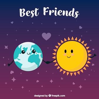 Le fond des meilleurs amis avec la terre et le soleil