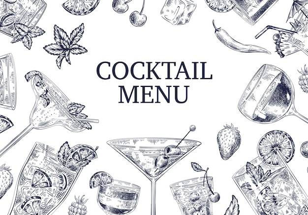 Fond de menu de cocktails