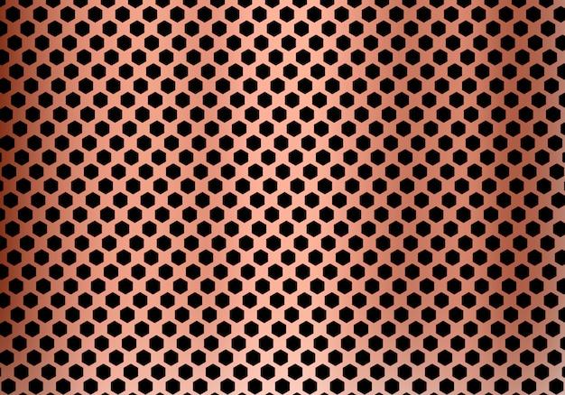 Fond de métal abstrait cuivre hexagone