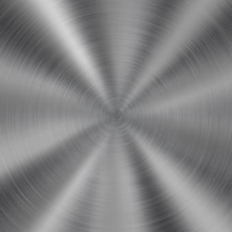 Fond métal brillant abstrait avec texture brossée circulaire de couleur argentée