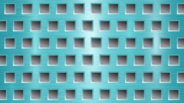 Fond métallique abstrait avec des trous carrés dans des couleurs bleu clair et gris