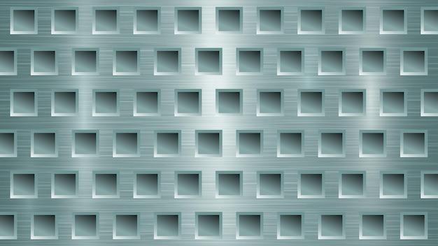 Fond métallique abstrait avec des trous carrés dans des couleurs bleu clair