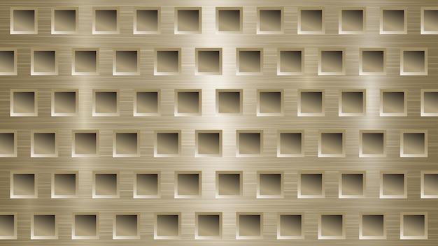 Fond métallique abstrait avec des trous carrés dans des couleurs dorées claires
