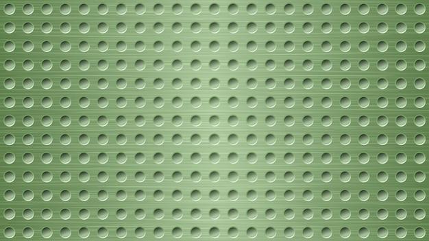 Fond métallique abstrait avec des trous dans des couleurs vert clair