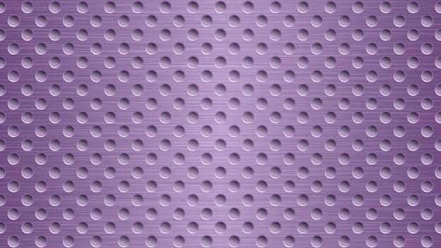 Fond métallique abstrait avec des trous dans des couleurs violettes