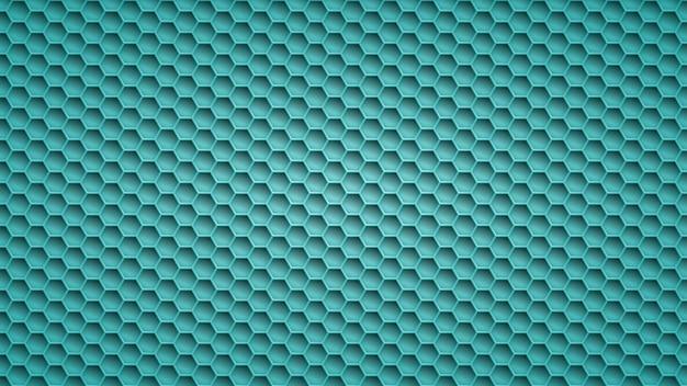 Fond métallique abstrait avec des trous hexagonaux dans des couleurs bleu clair