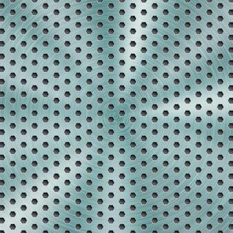 Fond métallique brillant abstrait de couleur bleu clair avec texture brossée circulaire et trous hexagonaux