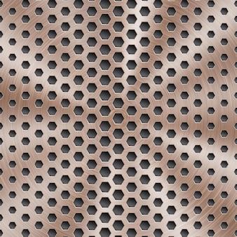 Fond métallique brillant abstrait de couleur bronze avec texture brossée circulaire et trous hexagonaux