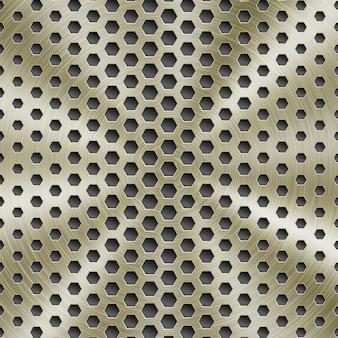 Fond métallique brillant abstrait de couleur dorée avec texture brossée circulaire et trous hexagonaux