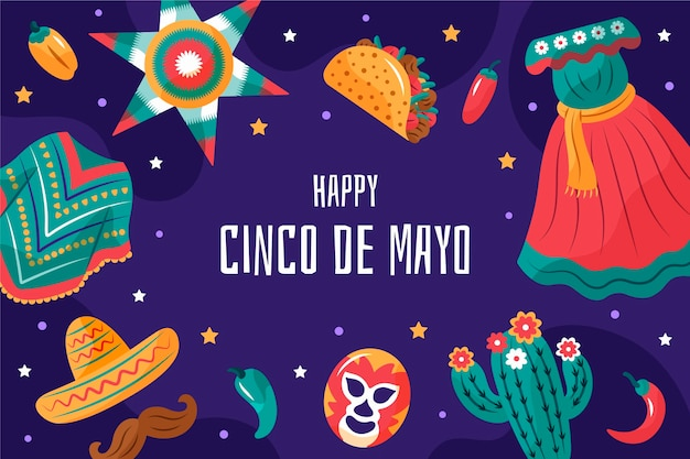Fond mexicain cinco de mayo dessiné à la main