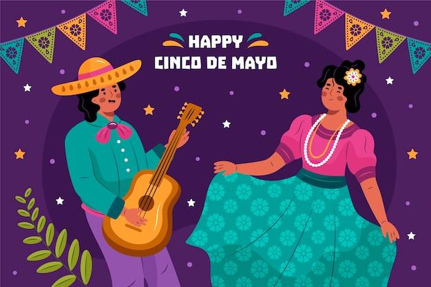 Fond mexicain cinco de mayo dessiné à la main