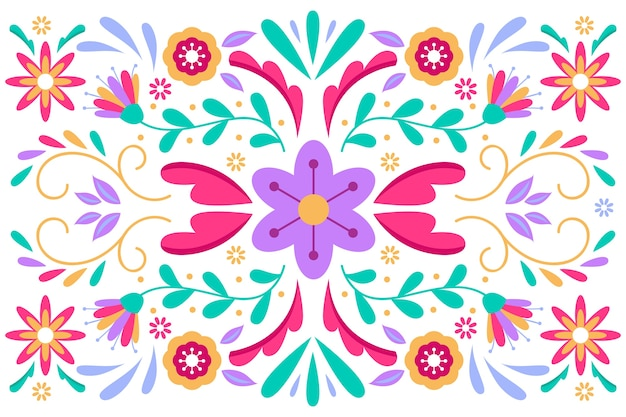 Fond mexicain coloré avec des fleurs et des feuilles