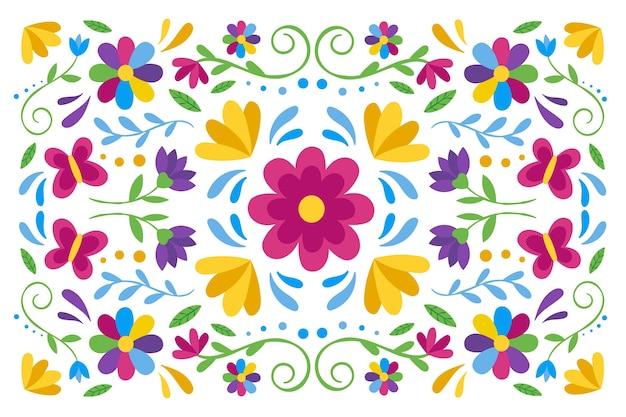 Fond mexicain coloré avec des fleurs
