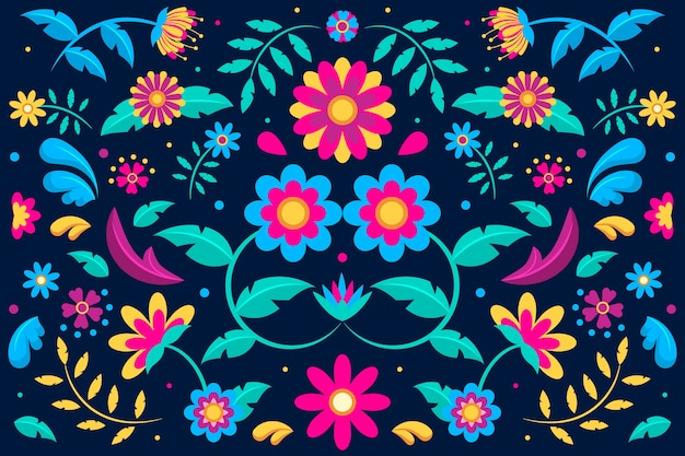 Fond mexicain coloré avec des ornements floraux