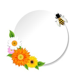 Fond de miel et abeille et bannière