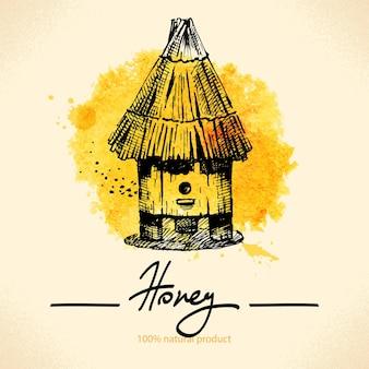 Fond de miel avec croquis dessinés à la main et illustration aquarelle