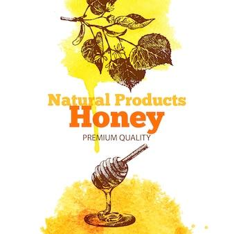Fond de miel avec croquis dessinés à la main et illustrations à l'aquarelle. conception de menus et d'emballages