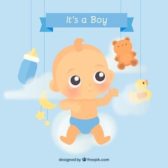 Fond de mignon bébé garçon dans un style plat