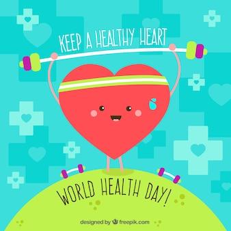 Fond mignon avec le coeur exercice pour la journée mondiale de la santé