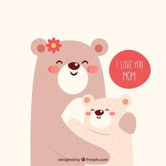 Fond mignon d'ours étreignant l'autre pour le jour de la mère