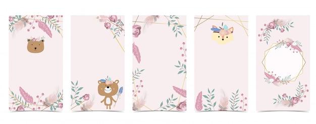 Fond mignon pour les médias sociaux ensemble d'histoire instagram avec ours, boho, fleur, plume