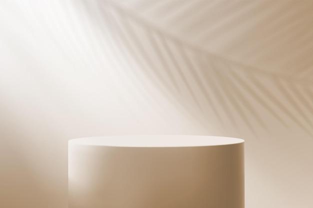 Fond minimaliste avec un piédestal et un rayon de lumière. podium vide pour démonstration de produit en couleurs marron.