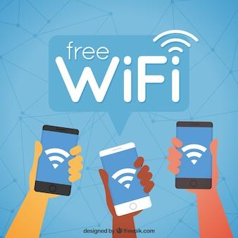 Fond mobile avec wifi dans un design plat