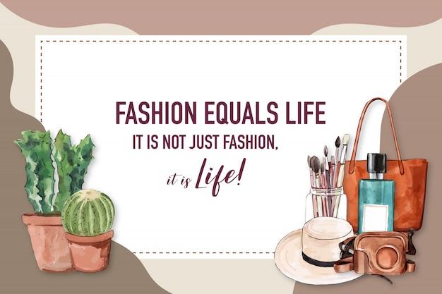 Fond de mode avec cactus, brosse, sac